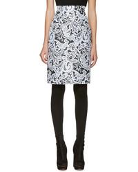 Black blue lace pencil skirt medium 620289