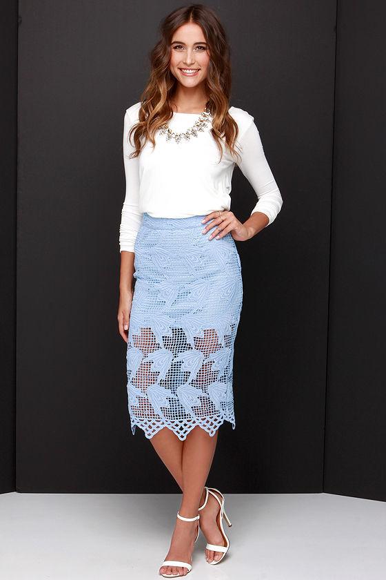 Joa Elegant Hardly Wait Powder Blue Lace Midi Skirt | Where to buy ...