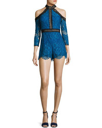 Alexis Leda Lace Cold Shoulder Romper Blue