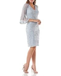 JS Collections Bell Sleeve Bead Soutache Cocktail Dress