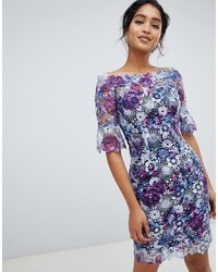 Paper Dolls Off Shoulder Crochet Midi Dress With Frill Sleeve In Printed Lace