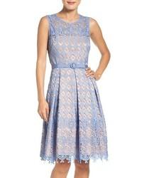 Eliza J Belted Lace Fit Flare Dress