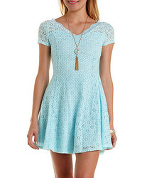 Charlotte Russe Cap Sleeve Lace Skater Dress