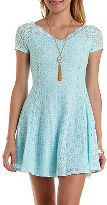 877f153500fa ... Blue Lace Skater Dresses Charlotte Russe Cap Sleeve Lace Skater Dress  ...