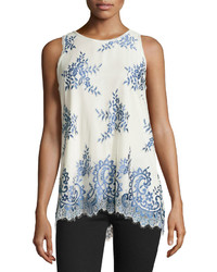 Max Studio Two Tone Lace Tank Blue