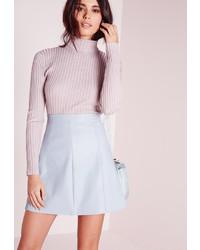 Light Blue Leather A-Line Skirt
