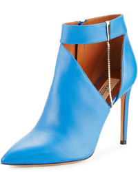 Valentino Leather Chain Pointed Toe Bootie Light Sapphire
