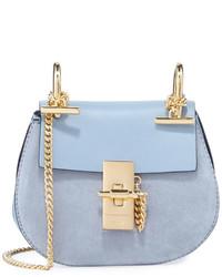 Chloé Chloe Drew Mixed Leather Shoulder Bag Fresh Blue