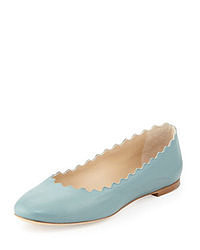 Light Blue Leather Ballerina Shoes