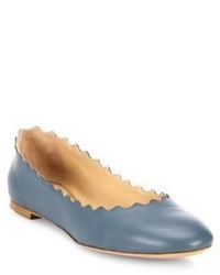 Chloé Chloe Scalloped Leather Ballet Flats