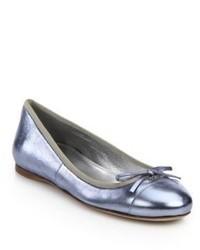 Prada Metallic Leather Ballet Flats