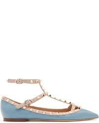 Valentino Rockstud T Bar Leather Flats