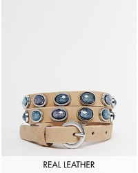 Esprit Slim Ceramic Stones Leather Belt