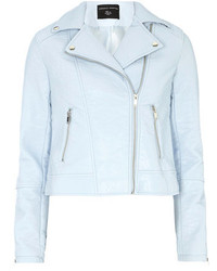 Dorothy Perkins Light Blue Faux Leather Biker Jacket