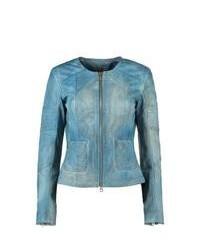 Ibana poppy spray leather jacket blue medium 93537