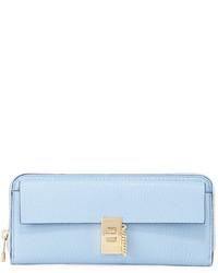 Chloé Chloe Pebbled Flap Leather Clutch Bag Fresh Blue