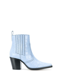Light Blue Leather Cowboy Boots for