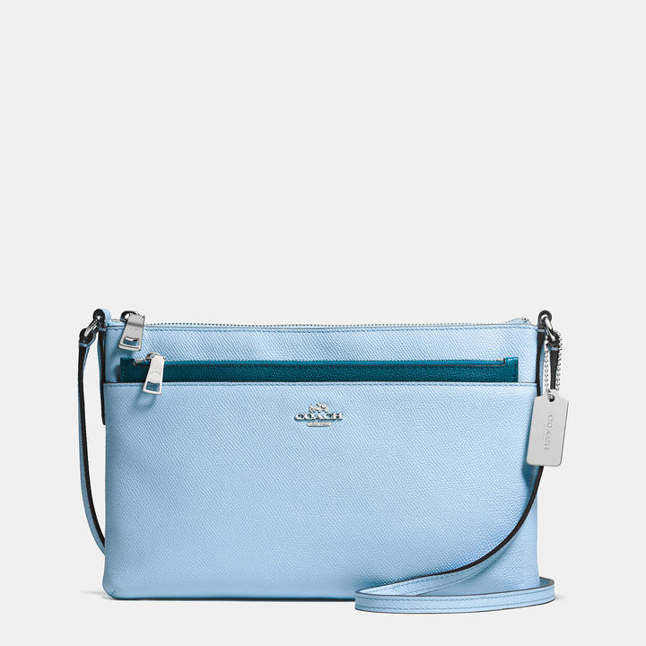 44545ec25058 ... Blue Leather Crossbody Bags Coach Crossbody With Pop Up Pouch In Crossgrain  Leather