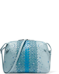 Bottega Veneta Messenger Small Embroidered Intrecciato Leather Shoulder Bag Blue