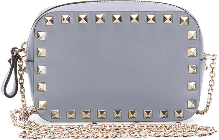 new items latest trends of 2019 order $895, Valentino Rockstud Small Chain Camera Crossbody Bag Light Gray