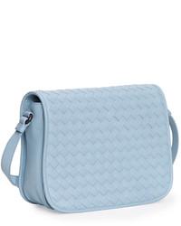 75a56f5012a9a ... Bottega Veneta Small Woven Flap Crossbody Bag Light Blue ...