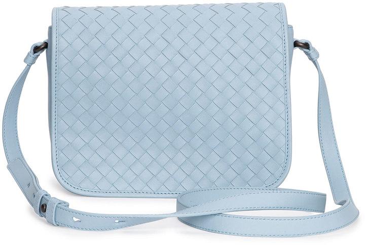 bffc2a7ffb ... Bottega Veneta Small Woven Flap Crossbody Bag Light Blue ...