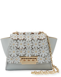 Zac Posen Zac Eartha Mini Floral Flap Chain Crossbody Bag Sky