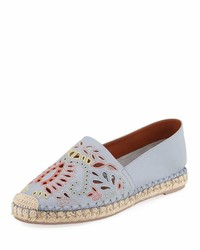 Valentino Embroidered Smooth Flat Espadrille Blue