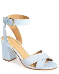 Light Blue Leather Heeled Sandals