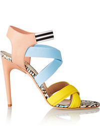 MSGM Elasticated Grosgrain And Leather Sandals