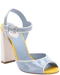 Fendi Light Blue Patent Leather Strappy Sandals