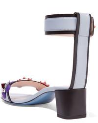 Fendi Floral Appliqud Leather Sandals Light Blue