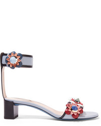 Fendi Floral Appliqud Leather Sandals Light Blue