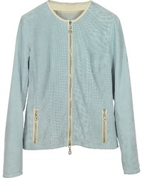 Forzieri Light Blue Perforated Suede Jacket