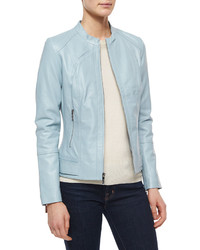 Neiman Marcus Leather Zip Front Jacket