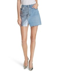 Grlfrnd Milla Metallic Leather Panel Denim Miniskirt