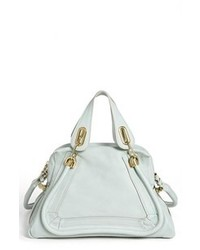 Light Blue Leather Satchel Bag