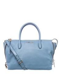 Miu Miu Miu Madras Sky Blue Leather Side Zip Satchel