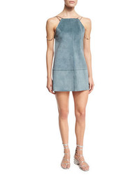 Alexis Zoya Sleeveless Leather Shift Dress Blue