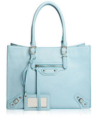 ChicNova Light Blue Pu Rivets Embellished Tote Bag