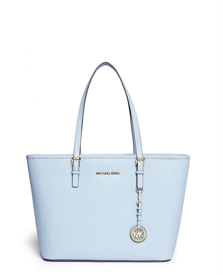light blue leather tote bag michael michael kors michl michl kors jet. Black Bedroom Furniture Sets. Home Design Ideas