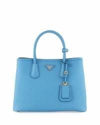 Prada Saffiano Cuir Double Small Tote Bag Light Bluedark Blue