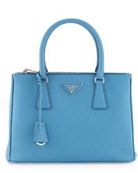 Prada Saffiano Lux Small Double Zip Tote Bag Light Blue
