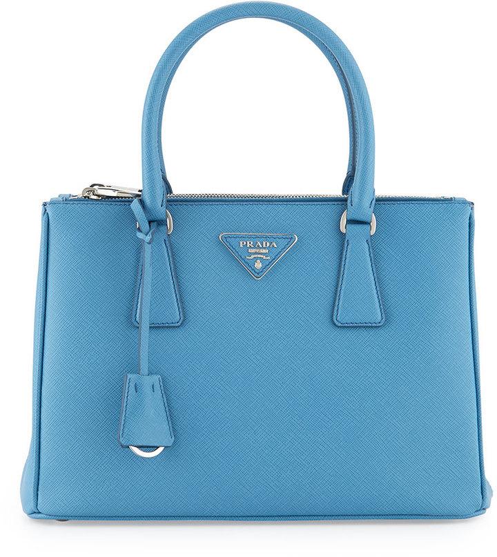 7613eb4f6cae Prada Saffiano Lux Small Double Zip Tote Bag Light Blue, $2,230 ...