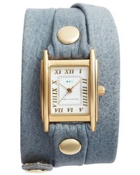 La Mer Collections Leather Wrap Strap Watch 22mm