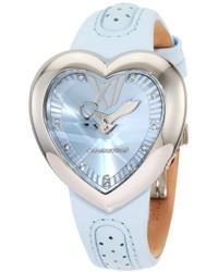 Chronotech Ct7688m04 Heart Shape Light Blue Leather Watch