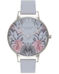 Olivia Burton Enchanted Garden Leather Strap Watch 38mm