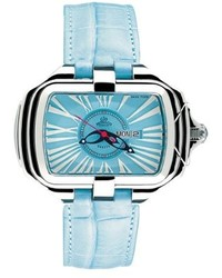 Gio monaco 302 a primadonna rectangular blue alligator leather date watch medium 186311