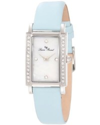 Lucien Piccard 11673 02mop Bbl Monte Baldo Crystal Accented White Patterned Mother Of Pearl Dial Light Blue Leather Watch