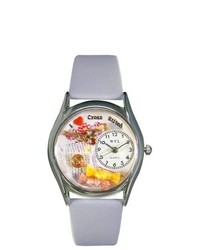 Whimsical Watches S Cross Stitch Baby Blue Leather And Silvertone Watch In Silver